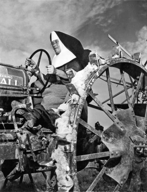 Nun Runs Tractor On Farm