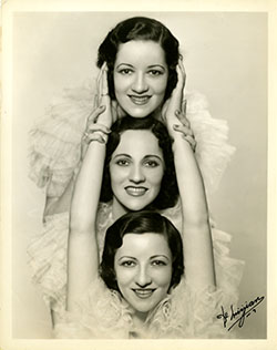 Portrait of the Boswell Sisters in a vertical row [a]